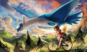 Rating: Safe Score: 121 Tags: bicycle bike_shorts brown_hair clouds haruka_(pokemon) latios pokemon sa-dui shorts torchic tree watermark wingull wristwear User: Rignak