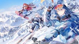 Rating: Safe Score: 46 Tags: blue_hair gloves junpaku_karen landscape long_hair red_hair scenic sky tree white_hair wink winter User: BattlequeenYume