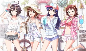 Rating: Safe Score: 9 Tags: ball bell blue_hair bow breasts brown_eyes brown_hair cherry drink flowers food fruit glasses green_eyes hat idolmaster long_hair navel necklace outsider_0 short_hair shorts sunglasses swim_ring tagme_(character) wink wristwear User: RyuZU