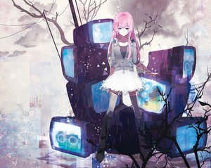Rating: Safe Score: 132 Tags: bicolored_eyes boots clouds dress headphones kairinn0952 megurine_luka rain sky tree vocaloid User: FormX