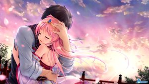 Rating: Safe Score: 69 Tags: august bekkankou blush clouds game_cg hug japanese_clothes long_hair male miyaguni_akari natsuno_io pink_hair sen_no_hatou_tsukisome_no_kouki sky tiara tokita_soujin User: mattiasc02