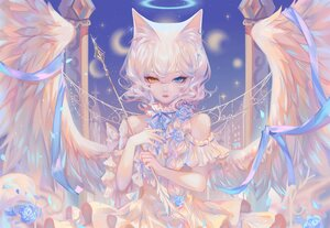 Rating: Safe Score: 46 Tags: angel animal_ears bicolored_eyes braids catgirl dress flowers halo long_hair moon original petals ponytail ribbons sheya stars tattoo white_hair wings User: BattlequeenYume