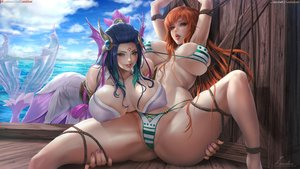Rating: Questionable Score: 276 Tags: 2girls bikini bondage breasts crossover league_of_legends lexaiduer mermaid nami nami_(league_of_legends) one_piece realistic spread_legs swimsuit watermark User: FormX