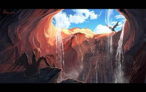 Rating: Safe Score: 126 Tags: building clouds dragon jpeg_artifacts landscape mugon original scenic signed sky water waterfall User: STORM