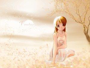 Rating: Safe Score: 21 Tags: brown_eyes brown_hair dress petals tree water User: Oyashiro-sama