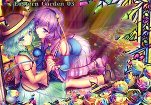 Rating: Safe Score: 66 Tags: 2girls flowers green_eyes green_hair komeiji_koishi komeiji_satori purple_eyes purple_hair sayori short_hair touhou User: Wiresetc