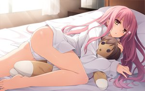 Rating: Safe Score: 399 Tags: ass barefoot bed doll imouto_no_katachi miyuki_sena mutou_kurihito panties pink_hair underwear User: opai
