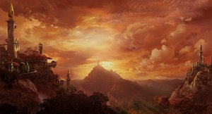 Rating: Safe Score: 113 Tags: building clouds forest landscape nobody scenic sunset tree water waterfall world_of_warcraft User: Rignak