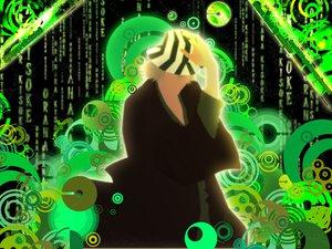 Rating: Safe Score: 12 Tags: all_male bleach green male silhouette the_matrix urahara_kisuke User: Oyashiro-sama