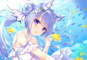 Rating: Safe Score: 9 Tags: ameto_yuki animal animal_ears aqua_hair catgirl dress fish long_hair original purple_eyes scan underwater water User: Nepcoheart