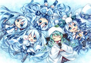 Rating: Safe Score: 92 Tags: blue_eyes blue_hair bunny chibi hatsune_miku japanese_clothes kagami_leo kimono scarf skirt snow snowman staff thighhighs twintails vocaloid wedding_attire wink winter yuki_miku User: STORM