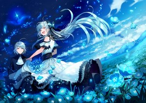 Rating: Safe Score: 48 Tags: animal bicolored_eyes bird blue_hair blush bow clouds dress flowers jpeg_artifacts long_hair male mocco night original petals short_hair sky User: RyuZU