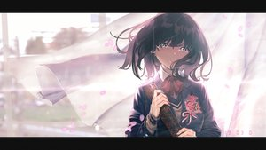 Rating: Safe Score: 48 Tags: black_hair bow flowers original rolua school_uniform short_hair tears yellow_eyes User: FormX