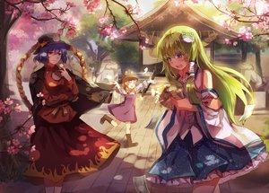 Rating: Safe Score: 93 Tags: cherry_blossoms flowers japanese_clothes kochiya_sanae magicpants miko moriya_suwako rope shrine touhou yasaka_kanako User: FormX