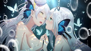 Rating: Questionable Score: 24 Tags: 2girls aliasing braids breasts bubbles butterfly green_eyes headdress kamiki_kinu kinu_channel long_hair magnet_(vocaloid) no_bra pointed_ears re:act shoujo_ai topless underwater uni_unico water white_hair yasuyuki yellow_eyes User: BattlequeenYume