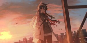 Rating: Safe Score: 38 Tags: animal animal_ears arknights bird black_hair brown_eyes building chihuri405 clouds long_hair pantyhose shirt shorts sky sunset tail texas_(arknights) User: PrimalAgony