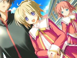 Rating: Safe Score: 5 Tags: amagahara_inaho blonde_hair blue_eyes blush favorite game_cg happy_margaret! kokonoka minahase_karin red_hair school_uniform User: 秀悟