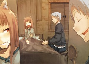 Rating: Safe Score: 97 Tags: animal_ears ayakura_juu bed craft_lawrence gray_hair horo long_hair orange_hair red_eyes short_hair spice_and_wolf tail wink wolfgirl User: 秀悟