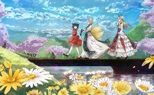 Rating: Safe Score: 107 Tags: animal_ears bou_shaku catgirl chen flowers foxgirl multiple_tails tail touhou water yakumo_ran yakumo_yukari User: Wiresetc