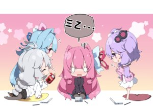 Rating: Safe Score: 15 Tags: barefoot blue_hair braids chibi dress fang food game_console gradient gray_hair group kizuna_akari kotonoha_akane kotonoha_aoi long_hair milkpanda pantyhose pink pink_hair pocky purple_eyes purple_hair skirt tears twins twintails vocaloid voiceroid yuzuki_yukari User: otaku_emmy