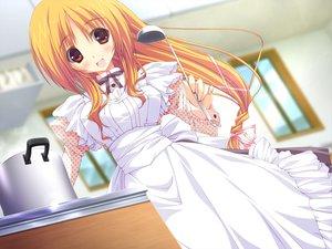 Rating: Safe Score: 75 Tags: apron feng game_cg hoshizora_e_kakaru_hashi long_hair orange_eyes orange_hair toudou_tsumugi tsurusaki_takahiro User: Wiresetc