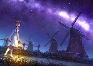 Rating: Safe Score: 149 Tags: brown_hair dress grass kurage_(kurakurapix) night original sky stars windmill User: Flandre93