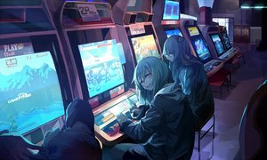 Rating: Safe Score: 92 Tags: anthropomorphism brown_eyes dark g11_(girls_frontline) game_console girls_frontline green_hair hk416_(girls_frontline) miyabino_(miyabi1616) scar street_fighter ump-45_(girls_frontline) User: RyuZU