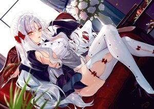 Rating: Safe Score: 73 Tags: flowers food gray_hair headdress long_hair maid original signed thighhighs xin_(moehime) yellow_eyes User: BattlequeenYume