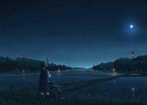 Rating: Safe Score: 145 Tags: bicycle landscape moon night original pochi_(poti1990) scenic seifuku short_hair skirt sky stars User: Flandre93
