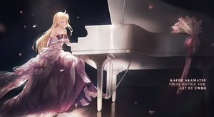 Rating: Safe Score: 61 Tags: akamatsu_kaede blonde_hair bow cherry_blossoms dangan-ronpa dress elbow_gloves flowers gloves instrument long_hair new_dangan-ronpa_v3 piano pink_eyes uwro watermark User: BattlequeenYume
