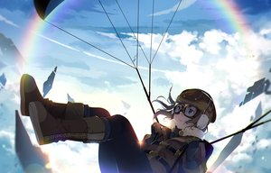 Rating: Safe Score: 32 Tags: blue_eyes boots brown_hair clouds earmuffs gloves goggles hmniao original rainbow short_hair sky User: RyuZU