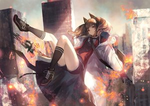 Rating: Safe Score: 96 Tags: angelina_(arknights) animal_ears arknights brown_hair building city fire gloves kneehighs long_hair red_eyes shirataki_jiro shorts tail twintails weapon User: BattlequeenYume