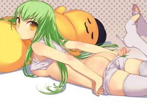 Rating: Questionable Score: 361 Tags: ass breasts cc cheese-kun code_geass green_hair thighhighs underboob undressing uni User: opai