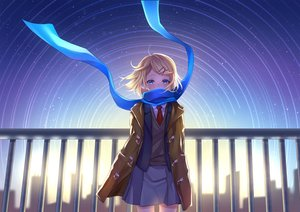 Rating: Safe Score: 73 Tags: aqua_eyes blonde_hair building city earmuffs kagamine_rin mikmix scarf seifuku short_hair silhouette skirt sky stars tie vocaloid User: otaku_emmy