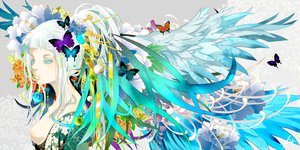 Rating: Questionable Score: 86 Tags: blue_eyes breasts butterfly flowers japanese_clothes kimono long_hair nanahara_shie nipples original ponytail white_hair wings User: FormX