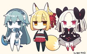 Rating: Safe Score: 25 Tags: animal_ears bell blonde_hair blue_eyes blue_hair bodysuit bow chibi elbow_gloves foxgirl gloves goth-loli headband japanese_clothes katana loli lolita_fashion long_hair orange_eyes original petals pointed_ears ribbons scarf short_hair signed skirt skirt_lift sword tail twintails weapon white_hair yuzuki_gao User: otaku_emmy