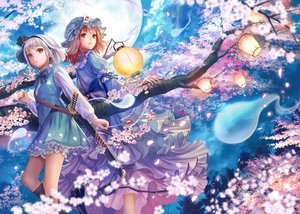 Rating: Safe Score: 51 Tags: 46 flowers katana konpaku_youmu moon petals saigyouji_yuyuko sword touhou weapon User: opai