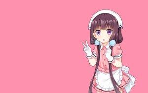Rating: Safe Score: 41 Tags: apron blend_s brown_hair gloves headdress long_hair photoshop pink purple_eyes sakuranomiya_maika tengxiang_lingnai twintails waitress User: RyuZU