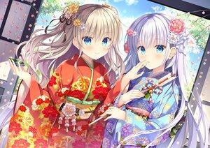Rating: Safe Score: 110 Tags: 2girls aqua_eyes blonde_hair charlotte crossover flowers gray_hair japanese_clothes kimono long_hair naruse_shiroha summer_pockets takano_yuki tomori_nao User: Nepcoheart