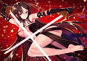 Rating: Questionable Score: 122 Tags: ass barefoot breasts brown_hair consort_yu_(fate) elbow_gloves fate/grand_order fate_(series) gloves long_hair matsuryuu navel red red_eyes sword weapon User: RyuZU