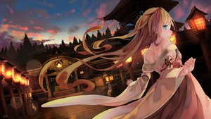Rating: Safe Score: 57 Tags: brown_hair building city clouds japanese_clothes long_hair miko original saraki shrine signed sky sunset User: RyuZU