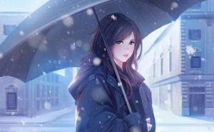 Rating: Safe Score: 133 Tags: brown_eyes brown_hair building city gloves long_hair nguyen_uy_vu original realistic snow umbrella winter User: RyuZU