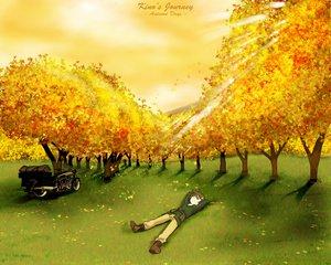 Rating: Safe Score: 6 Tags: autumn boots brown_hair grass hermes kino kino_no_tabi leaves logo short_hair sunset tree User: Oyashiro-sama