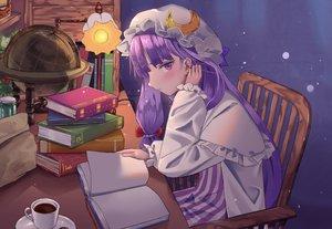Rating: Safe Score: 38 Tags: blush book dress drink hat long_hair maachi_(fsam4547) patchouli_knowledge purple_eyes purple_hair touhou User: otaku_emmy