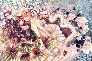 Rating: Safe Score: 79 Tags: barefoot bow chain choker dress flowers lolita_fashion male original rose shackles shijuu_hachi User: Flandre93