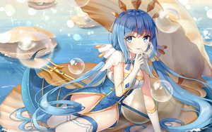 Rating: Safe Score: 66 Tags: aqua_eyes blue_hair blush breasts elbow_gloves gloves long_hair original spear thighhighs twintails weapon yuhuan User: RyuZU