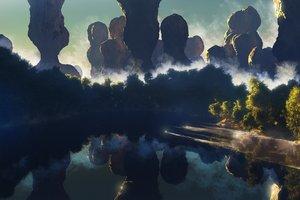 Rating: Safe Score: 113 Tags: 3d landscape nobody original reflection scenic tree waisshu_(sougyokyuu) water User: RyuZU