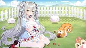 Rating: Safe Score: 51 Tags: animal apron blush breasts cleavage clouds fang gray_hair green_eyes ju_topia lolita_fashion long_hair maid original sheep sky thighhighs twintails User: BattlequeenYume