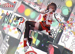 Rating: Safe Score: 116 Tags: braids breasts brown_hair cleavage elbow_gloves gloves long_hair ponytail pre_(preecho) red_eyes shorts signed thighhighs vocaloid vocaloid_china yuezheng_ling zettai_ryouiki User: BattlequeenYume