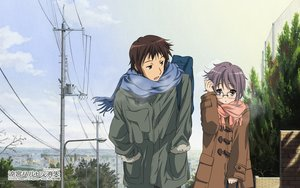 Rating: Safe Score: 31 Tags: brown_eyes brown_hair clouds glasses kyon male nagato_yuki purple_hair scarf short_hair sky suzumiya_haruhi_no_yuutsu tagme_(artist) watermark User: RyuZU